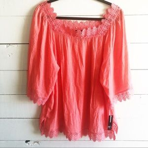 New Directions Coral Tunic Crochet Trim